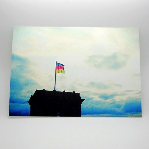 Travel Postcard: Berlin, Germany.Flag of Germany