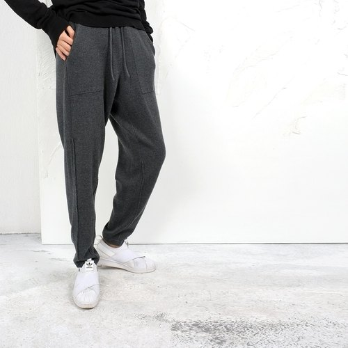 Gao fruit / GAOGUO original designer brand women's black and gray wool knit thin trousers leisure wild