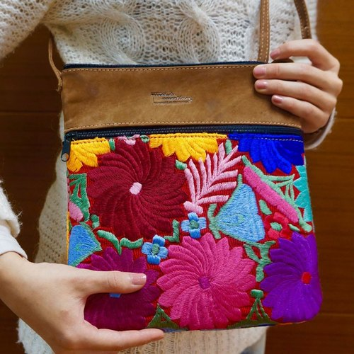 HANDMADE FLORAL EMBROIDERY & LEATHER CROSSBODY BAG FOR IPAD