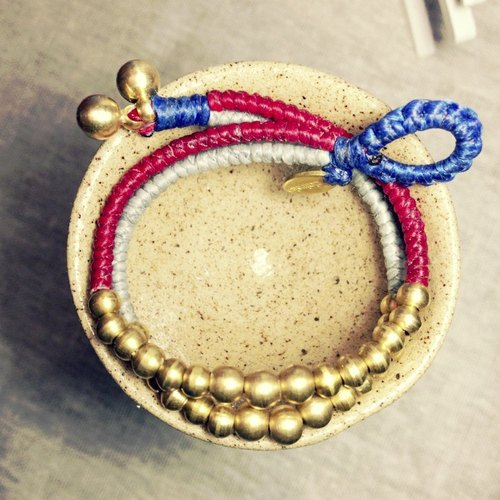 ◆◆ Sugar Nok ◆◆ British style Double series. Hand-knitted wax cord bracelet brass