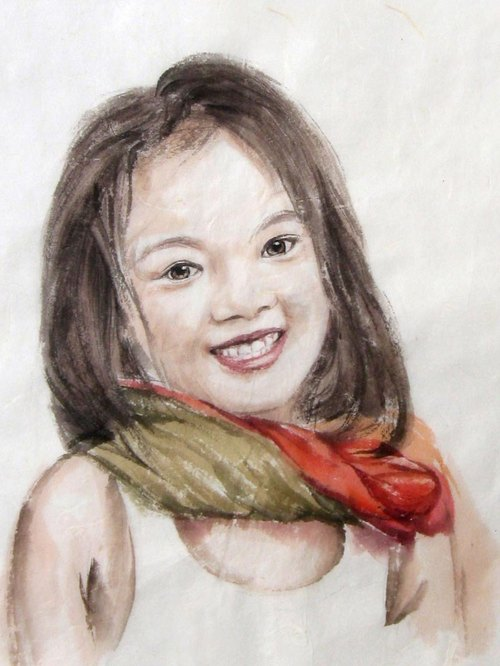 30cmx40cm Custom Portrait, Child's Portrait, Children's Personalized Original Hand Drawn Portrait from Your Photo, OOAK watercolor Painting Ideas Gift