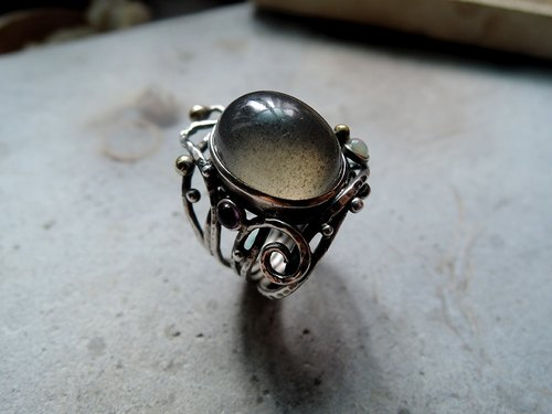 Gray Moonstone Gray Moonstone handmade sterling silver rings design