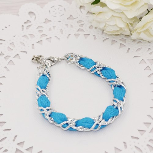* Poof Princess sugar - flat lacing diamond bracelet (light blue)