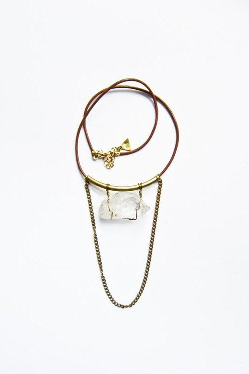 Crystal Quartz and chain necklace 鋯石/裸礦垂鍊頸鍊/項鍊/皮繩/ statement