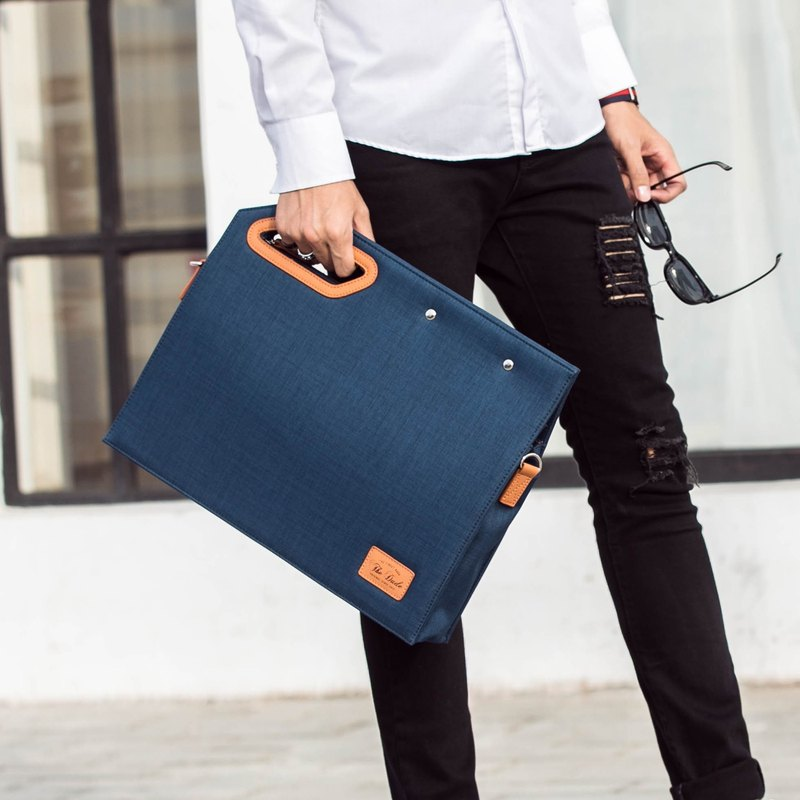 [The Dude] Square Clutch Briefcase Lightweight Design Fashionista - Blue