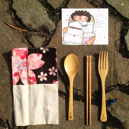 Mother's Day Postcard + Bamboo tableware 3 pc + Pouch for the tableware