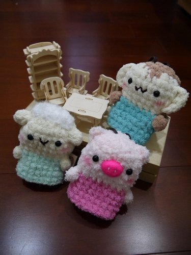 Marshmallow animals Wallets - in key cases (Bleater / pig / monkey)