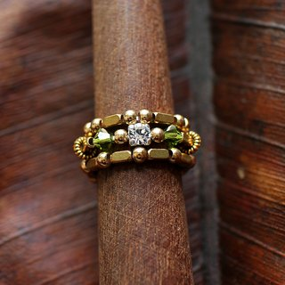 EF brass golden years NO.99 dark green diamond ring kits