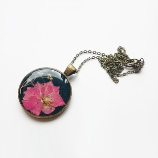 Pink blue delphinium flower necklace Epoxy pressedflower