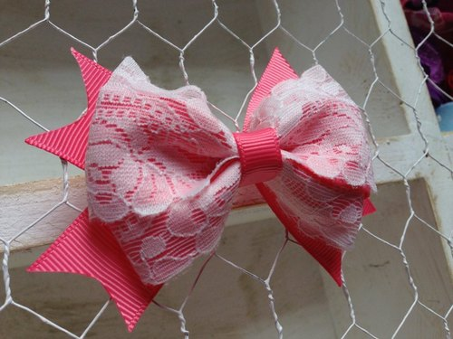 [050916] coral lace bow hairpin / hair bundles / hair bands