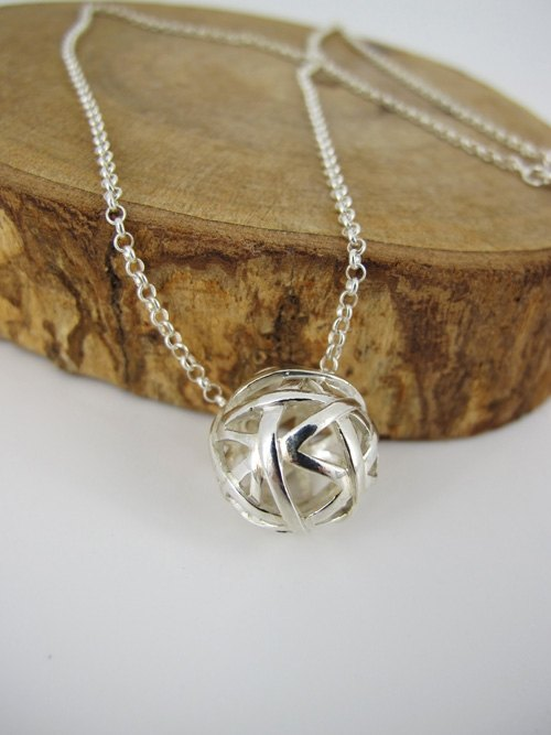 Silver Necklace - find rings (bright white) {Annular ball / 925 Sterling Silver}