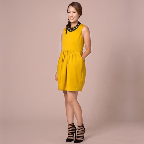 An He Ángeles- Kids mustard yellow tulip bud shape dress (adult section)