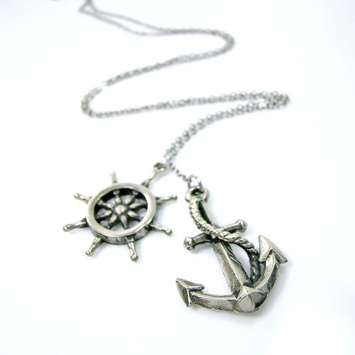 anchor and wheel pendant in white bronze,Rocker jewelry ,Skull jewelry,Biker jewelry