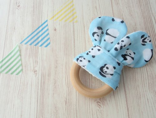 Wooden Teething Ring.Organic Wooden Ring,Handmade,Sensory Toy,Natural Maple Wood,Panda Bears on Sax Blue,Boy,Girl