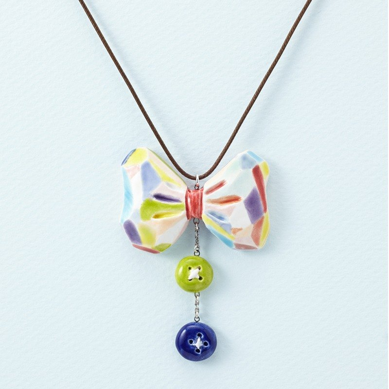 Colorful Bow tie-Handmade White Porcelain Necklace