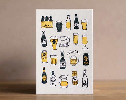 'Lots of Beer' Letterpress Print/ Postcard