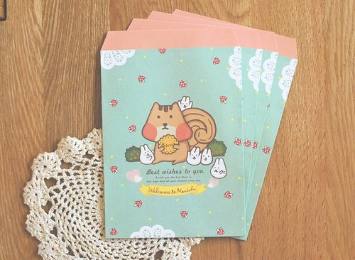 * Mori Shu * mochi rabbit squirrel forest gift paper bag (10 in)