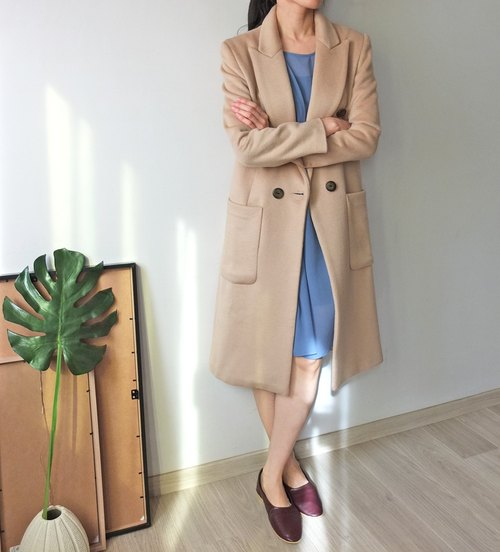 Beige double-breasted wool coat