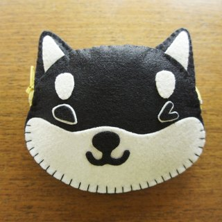 [Mangogirl] Department of super warm. Shiba hand-made zipper purse black