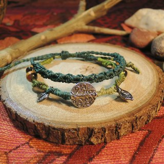 Tree with leaves / natural stone x Brazilian wax silk cord bracelet