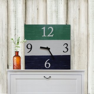 Solid wood retro fashion wall clock - blue - white - green - square -30cmX30cm - mute