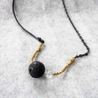 'Dark shine' | lava | White Crystal | brass | natural stone | Crystal | Leather | necklaces