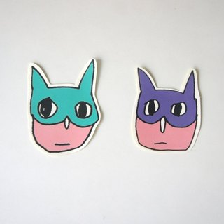 Red Face Owl Tape Masker Pink Cow Dairy Beard Rabbit Medium Sticker Set 5