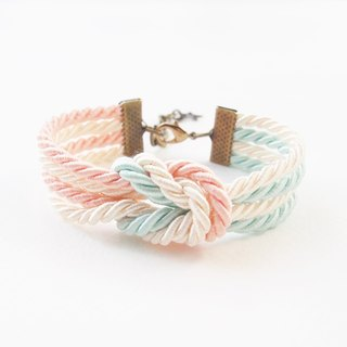 Light mint / peach double knot rope bracelet