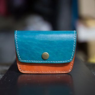 Leather handmade leather purse + color play a card layer (back)
