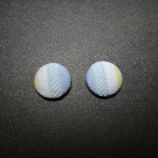 (C) _ Prynne blue ground cloth button earrings C22BT / UZ34