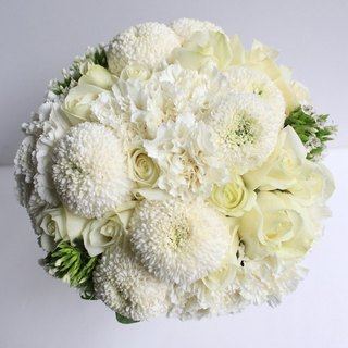Flowers - [Combination] Exquisite Flower Bouquet & Corsage White Green B-WG01