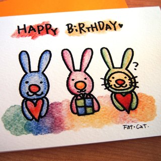 Birthday card - three rabbits?