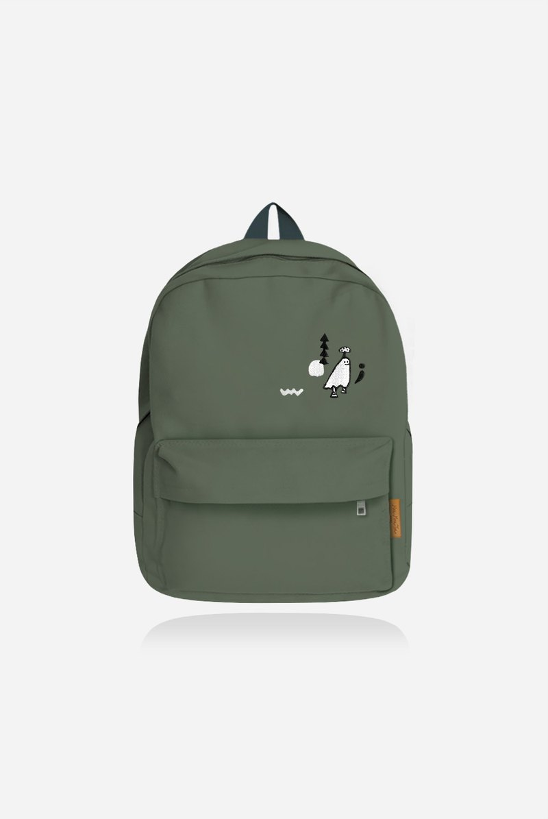 Mushrooms and small heads hide and seek - forest color canvas backpack