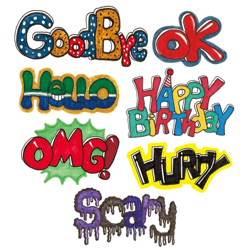 American-style hand-painted small English language waterproof stickers - Greeting B Pack 7 into