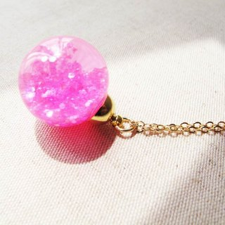 *Rosy Garden* plum glitter with water inisde glass ball necklace