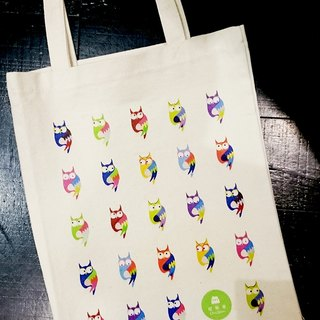 Cat and dog and owl owl family shopping bags -07-