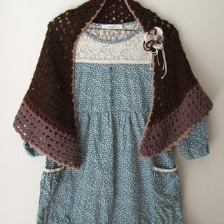 Autumn chocolate - Hand-crocheted shawl triangle (with pin)
