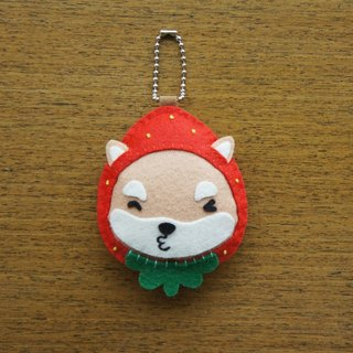 Mangogirl healing strawberry small Shiba Inu hand-made charm