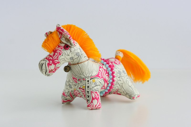 Hand-sewn doll puppet pony (white and pink fabric bright yellow mane) Fabric Horse