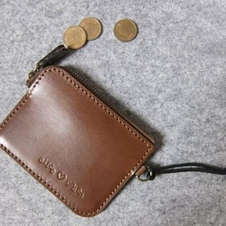 YOURS leather minimalist ‧ coin purse wide version can be placed card dark wood color