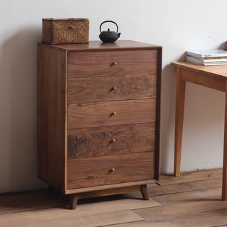 Xi Shan Kobo - Walnut / cherry wood - solid wood chest of drawers, side cabinet drawer lockers, cabinets