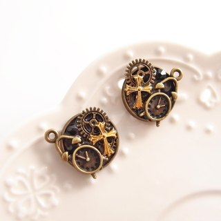 Vapor Punk [CR0161-1] clock gear cross x ear earrings / can do pin-type hypoallergenic stainless steel