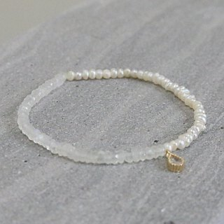 Moonstone natural stone pearl bracelet (0021 half and half)
