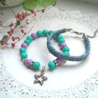 Stars and Mercy Bracelets - Purple + Turk Green - 2 Bars