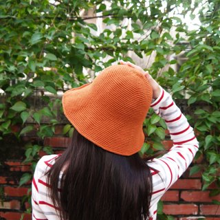 Mama の hand-made hat - handmade cotton rope crocheted hat / wide-brimmed hat - Retro Orange / gifts / Mother's Day