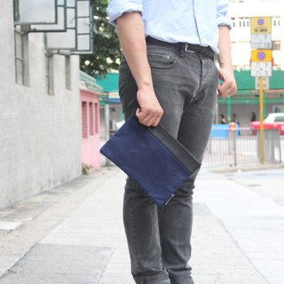 Waxed Canvas Small Portfolio Bag - Blue