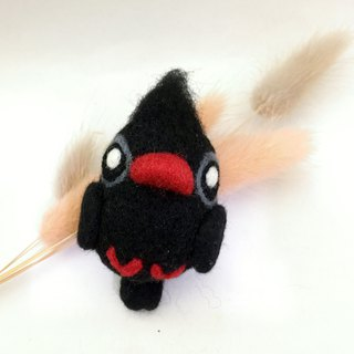 Wool felt bird pendant wild bird - red-billed black bream