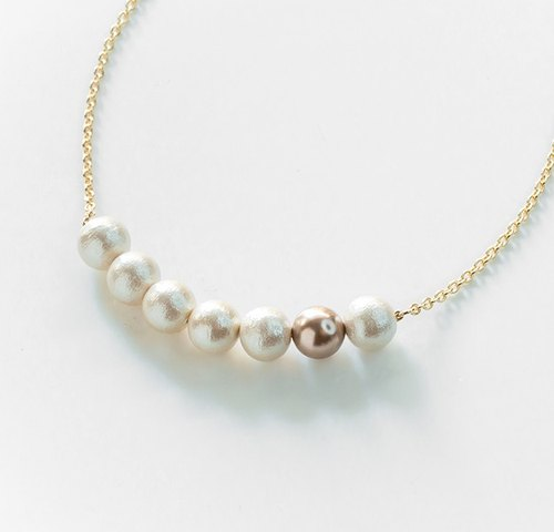 [Cotton pearl necklace with swarovski crystal pearl ]