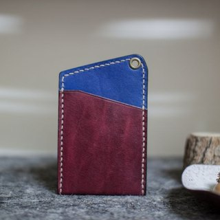 Leather handmade leather play both sides of the color-color sets of documents (without strap) _ dark red + blue