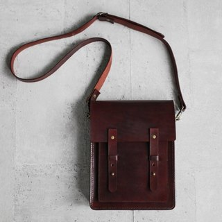 Dark brown vegetable tanned genuine leather satchel messenger bag